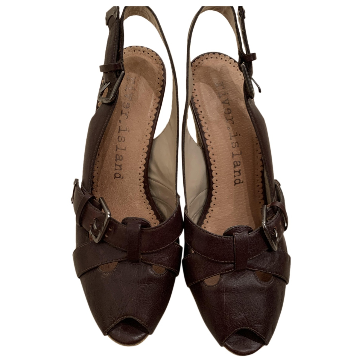 River Island N Brown Leather Heels for Women 38 EU