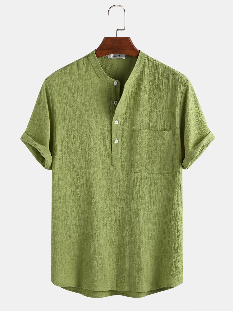 Mens 100% Cotton Solid Color Bubble Texture Casual Home Stand Collar Henley Shirt