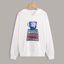 Tea Cup And Book Print Sweatshirt