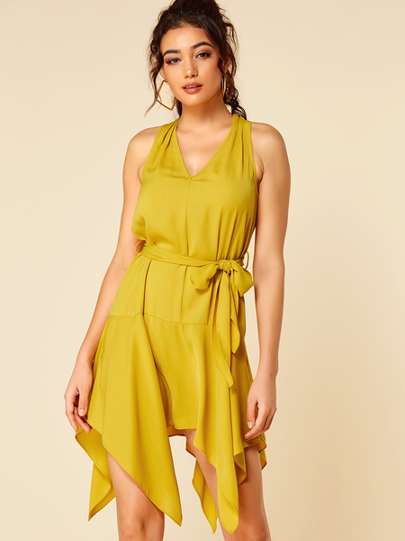 YOINS Yellow V-neck Sleeveless Irregular Hem Dress With Belt
