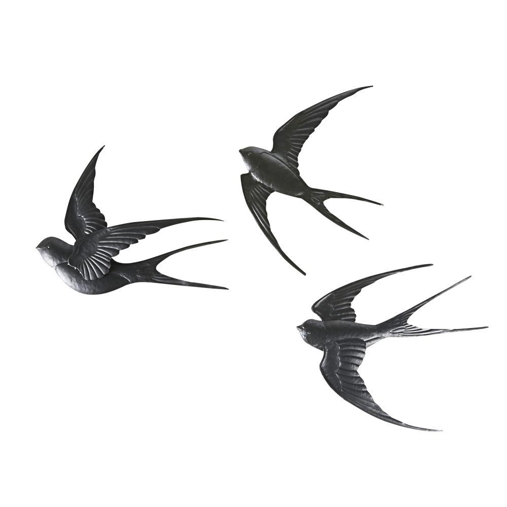 Wanddeko Schwalben aus schwarzem Metall (x3)