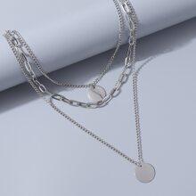 Mehrschichtige Halskette mit Disc Dekor