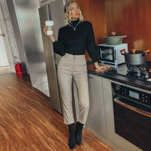 Plaid Straight Leg Crop Pants