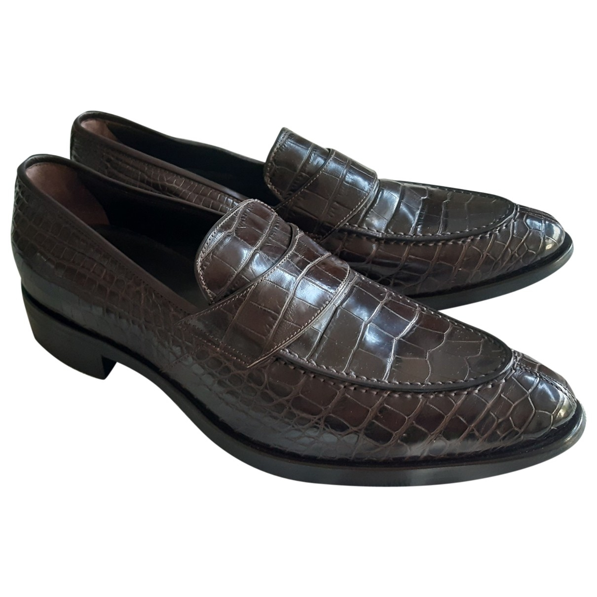 Giorgio Armani \N Brown Crocodile Flats for Men 42 EU
