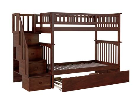 Columbia Collection AB55654 Twin Size Staircase Bunk Bed with Twin Size Urban Trundle  Casters  Steel Bolts  Modern Style and Solid Eco-Friendly