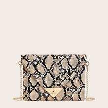 Twist Lock Snakeskin Print Chain Bag