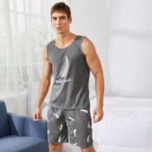 Guys Feather & Letter Graphic Tank PJ Set