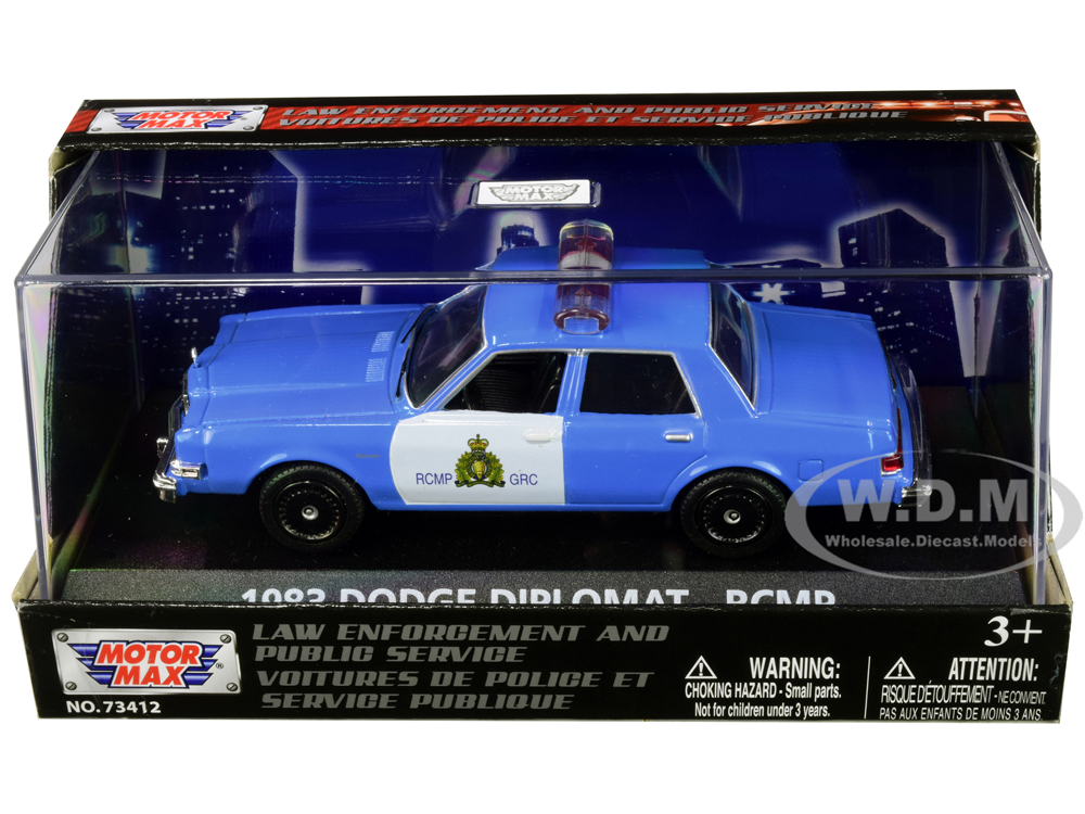 1983 Dodge Diplomat Royal Canadian Mounted Police (RCMP) Light Blue and White 1/43 Diecast Model Car by Motormax