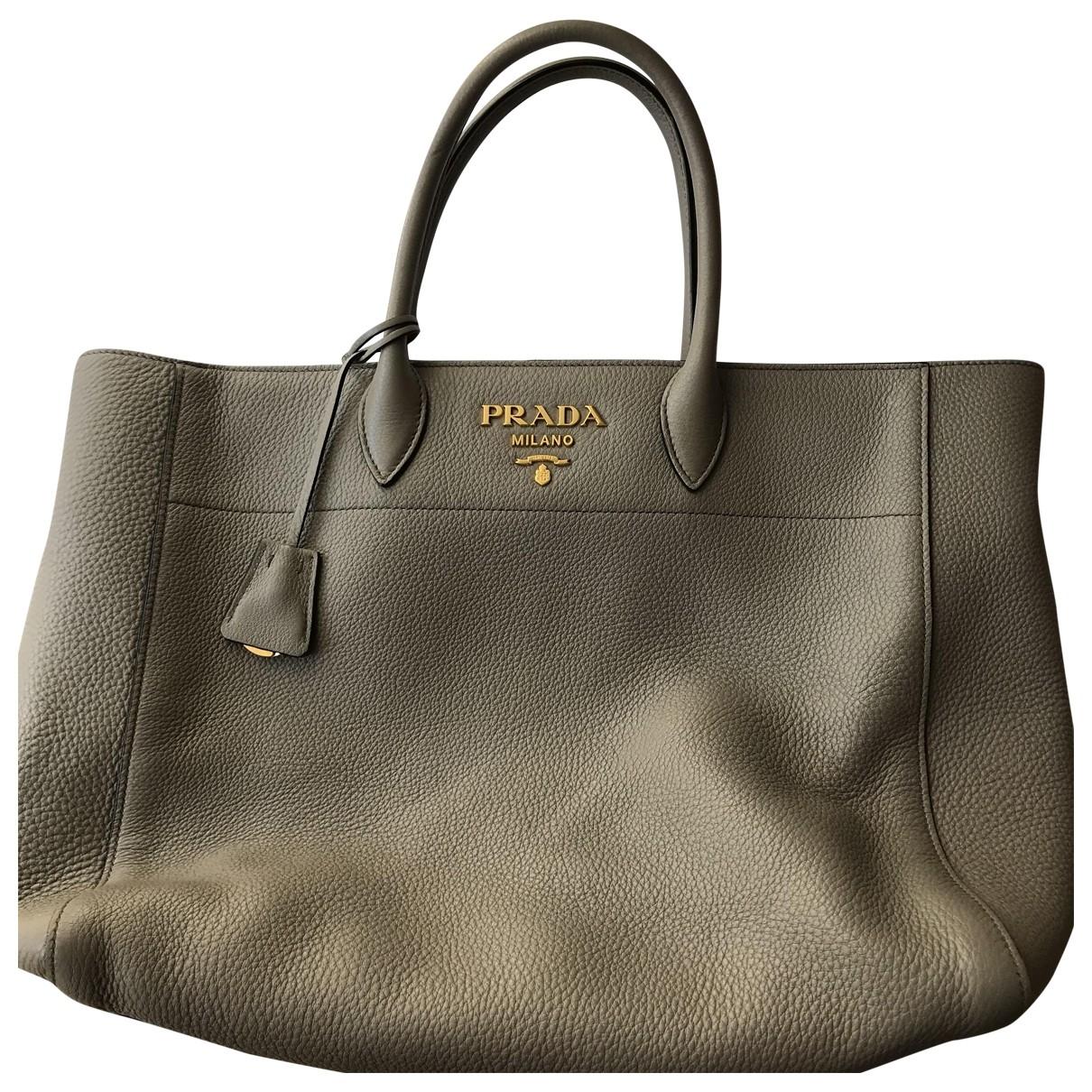 Prada - Sac a main   pour femme en cuir - gris