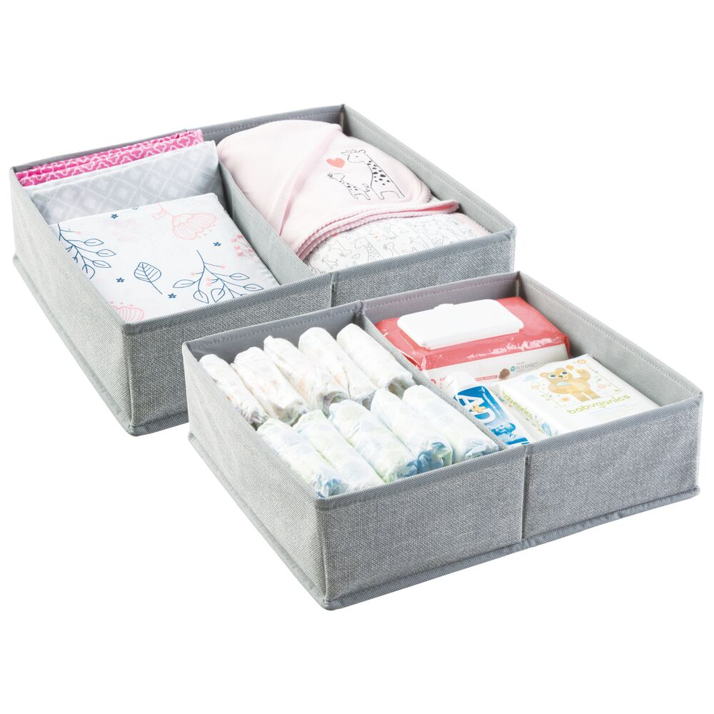 Large 2 Section Kids Fabric Dresser Drawer Organizer in Gray, 12.375