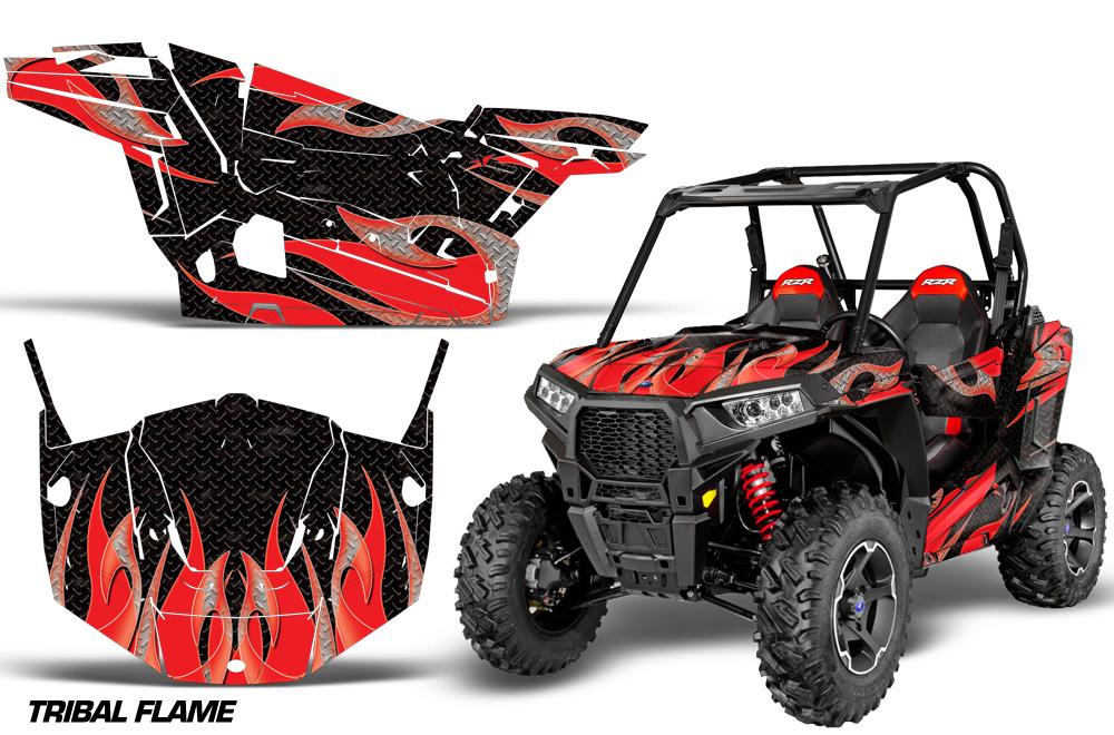 AMR Racing  Full Custom UTV Graphics Decal Kit Wrap Tribal Flame Red Polaris RZR S 900 15-16