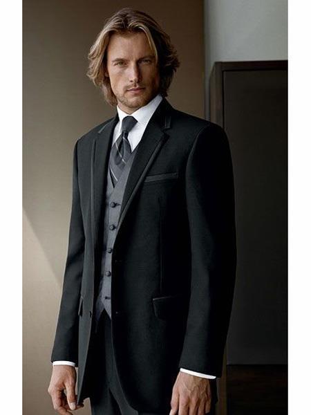 2 Button Wool Black suit with Grey vest 3PC 3 Pieces Vested suit