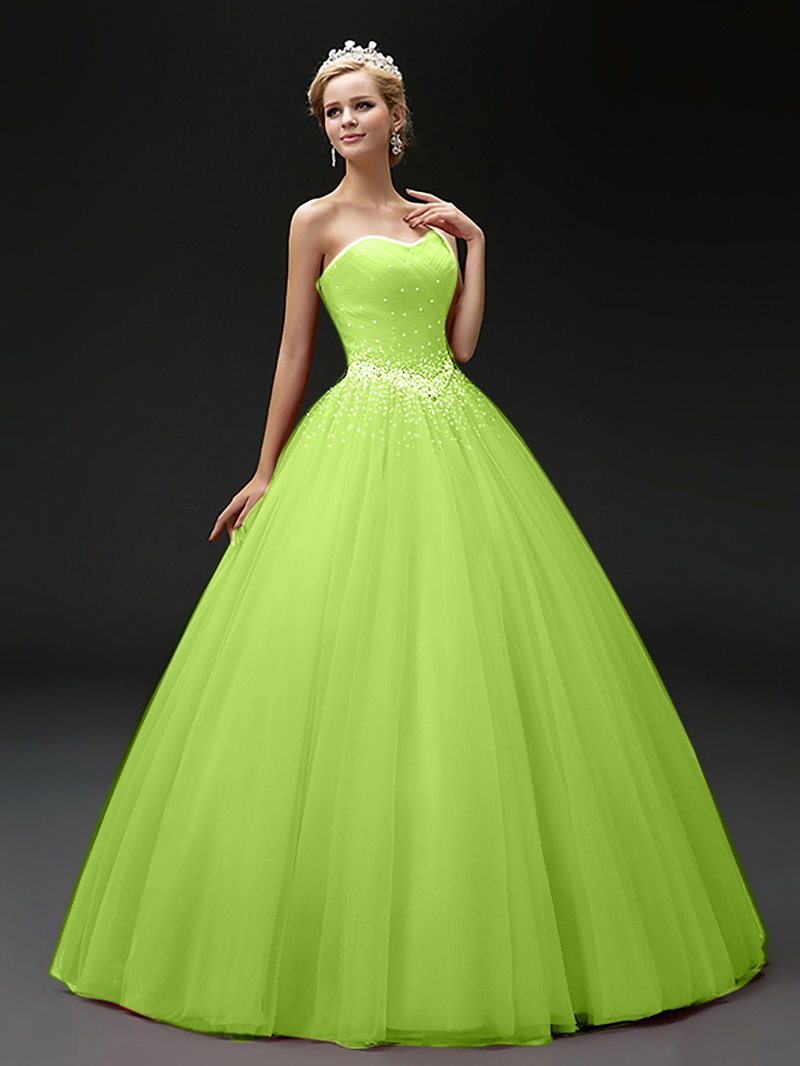 Ericdress Rhinestone Beading Floor Length Ball Quinceanera Gown With Lace-Up Back