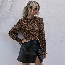Leopard Frill Neck Shirred Cuff Blouse