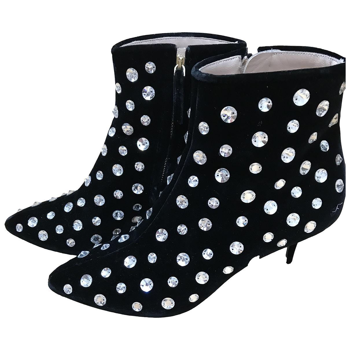 Polly Plume N Black Velvet Ankle boots for Women 38 EU