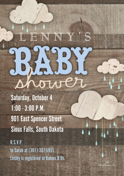 Baby Shower Invitations 5x7 Cards, Premium Cardstock 120lb with Scalloped Corners, Card & Stationery -Wooden Baby Shower - Blue