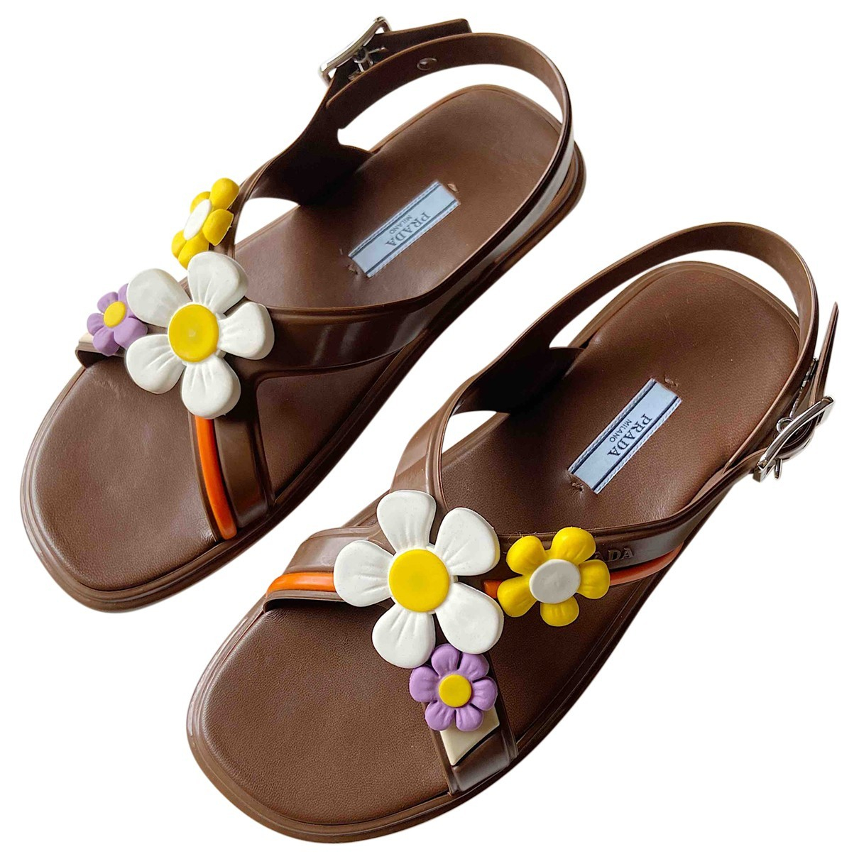 Prada \N Brown Leather Sandals for Women 38 IT