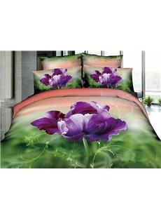 3D Purple Pansy Printed Cotton 4-Piece Gradient Bedding Sets/Duvet Cover