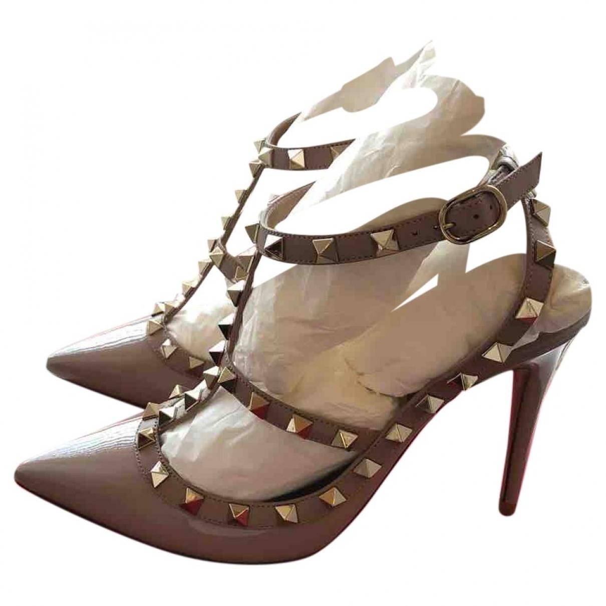 Valentino Garavani Rockstud Beige Patent leather Heels for Women 37.5 EU