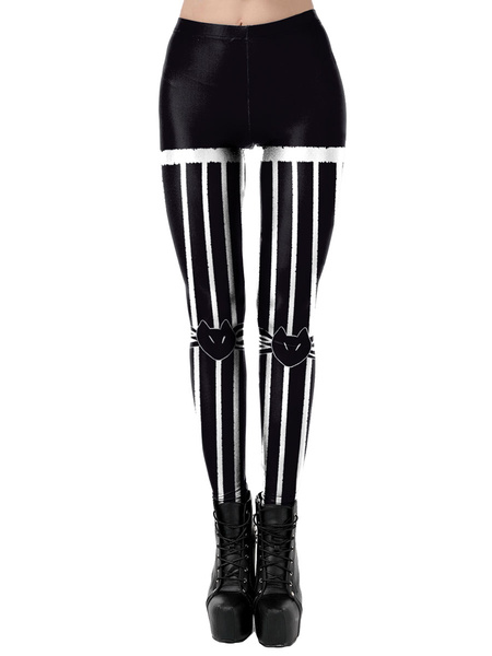 Milanoo Carnival Costumes Black Women\'s Stretch Pants Polyester Skinny Holidays Costumes