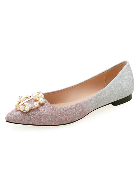 Milanoo Women Evening Shoes Pink Sequined Cloth Pointed Toe Ombre Chunky Heel Pearls Party Shoes