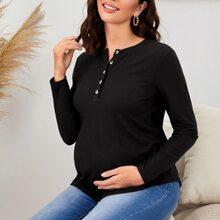 Maternity Half Button Placket Rib-knit Nursing Tee