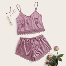 Lace Trim Satin Cami With Shorts