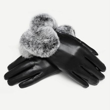1pair Contrast Faux Fur Gloves