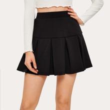 Solid Pleated Mini Skirt