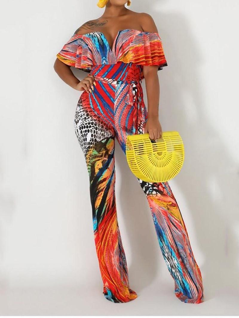 Ericdress Off Shoulder Falbala Fashion Full Length Slim Bellbottoms Jumpsuit