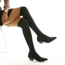Point Toe Over The Knee Sock Boots