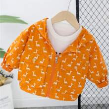 Toddler Girls Allover Cartoon Print Jacket Without Tee