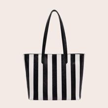 Two Tone Striped Graphic Tote Bag