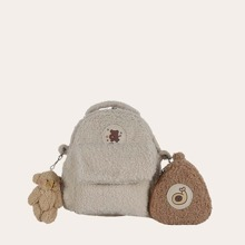 Bear Graphic Fluffy Backpack With Coin Case