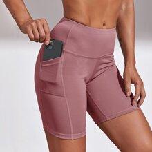 Wideband Waist Sports Biker Shorts With Phone Pocket