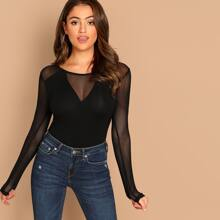 Sheer Mesh Panel Form Fitted Tee