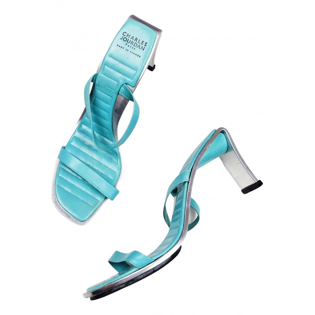 Charles Jourdan - Escarpins   pour femme en cuir - turquoise