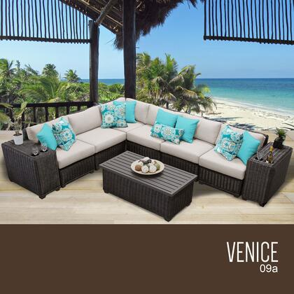 VENICE-09a-BEIGE Venice 9 Piece Outdoor Wicker Patio Furniture Set 09a with 2 Covers: Wheat and
