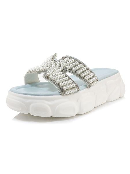 Milanoo Zapatillas de playa Diapositivas con adornos de perlas Zapatos de talla grande para mujer