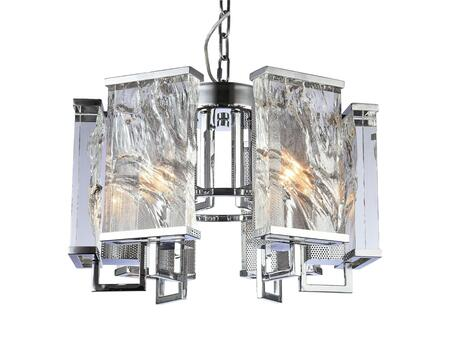 MU74CH 6-Light Chandelier with Iron and Crystal Materials and 40 Watts in Chrome