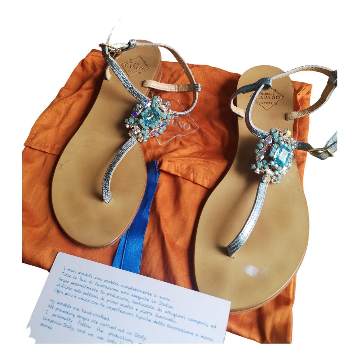Emanuela Caruso Capri - Sandales   pour femme en cuir - turquoise