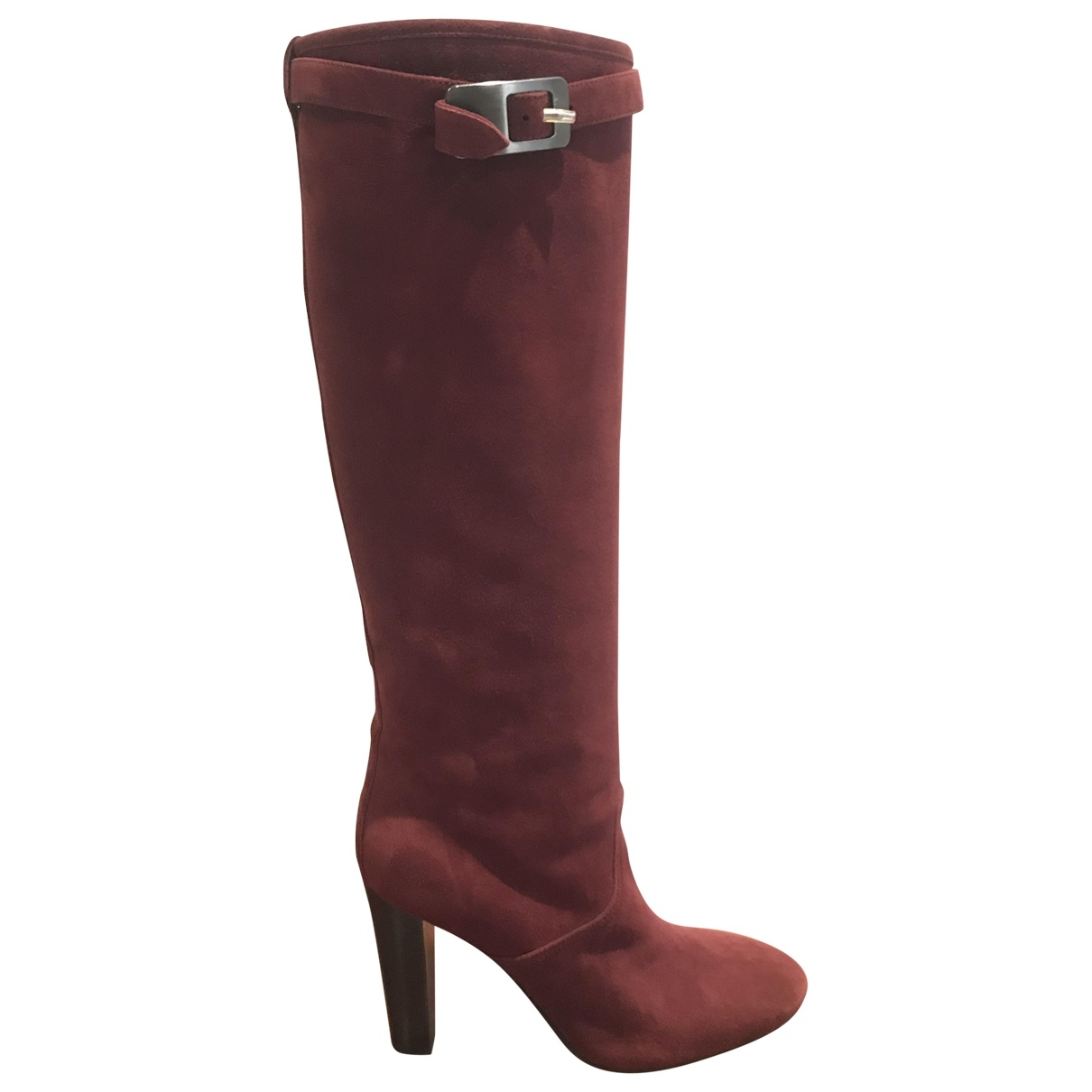 Hermès \N Burgundy Suede Boots for Women 36.5 EU
