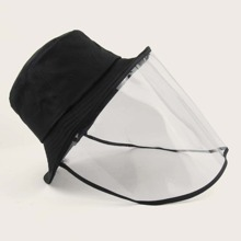 Girls Solid Bucket Hat With Not Detachable Face Shield