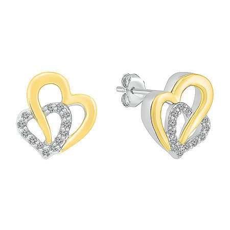 Lab Created White Sapphire 10K Gold Sterling Silver 12mm Heart Stud Earrings, One Size , No Color Family