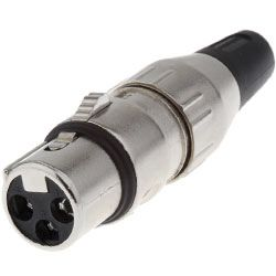 Deltron 3 Way Cable Mount XLR Connector, Female, Silver, 50 V ac