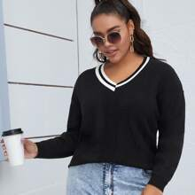 Pullover mit Streifen und V Kragen