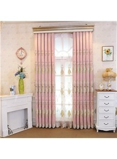 Pink Embroidery Floral Curtain Royal Drapes 2 Panels for Living Room