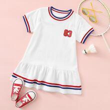 Toddler Girls Stripe Trim Ruffle Hem Tee Dress