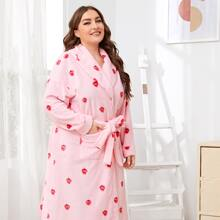 Plus Self Belted Pocket Front Strawberry Print Robe