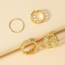4 piezas anillo con diamante de imitacion